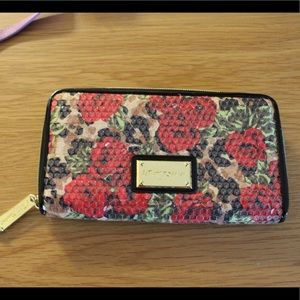 Betsey Johnson Gold and Red Rose Wallet